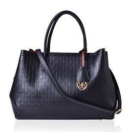 Black Colour Weave Pattern Tote Bag with Adjustable and Removable Shoulder Strap (Size 37x27x14 Cm)