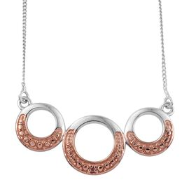 Natural Pink Diamond (Rnd) Necklace (Size 18) in Platinum Overlay Sterling Silver