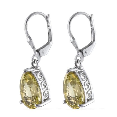Natural Ouro Verde Quartz (Pear) Lever Back Earrings in Platinum Overlay Sterling Silver 6.250 Ct.