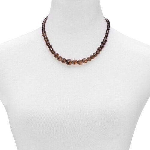 Brazilian Smoky Quartz Necklace (Size 18 with Extender) in Sterling Silver 150.000 Ct.