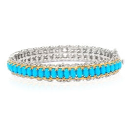 Arizona Sleeping Beauty Turquoise (Ovl) Bangle (Size 7.5) in Yellow Gold and Rhodium Plated Sterling Silver 13.500 Ct.