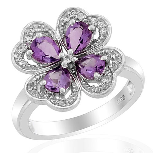 Platinum Overlay SS African AmethystWhite Topaz Ring   1.250  Ct.