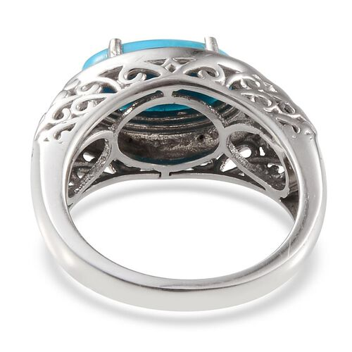 Arizona Sleeping Beauty Turquoise (Ovl 1.75 Ct), Diamond Ring in Platinum Overlay Sterling Silver 1.780 Ct.