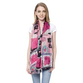 100% Mulberry Silk Pink, Blue and Multi Colour Oblong Pattern White Colour Scarf (Size 170x110 Cm)