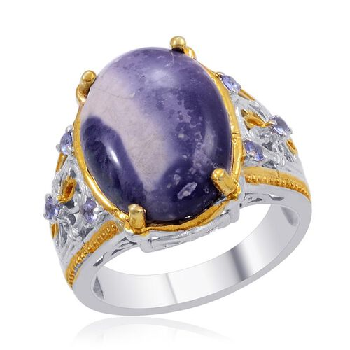 Designer Collection Utah Tiffany Stone (Ovl 9.75 Ct), Tanzanite Ring in 14K YG and Platinum Overlay Sterling Silver 10.050 Ct.