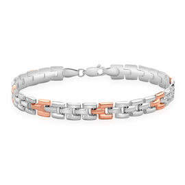 Close Out Deal 9K White and Rose Gold Open Brick Link Bracelet (Size 7.5), Gold wt 6.10 Gms.