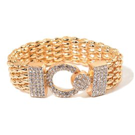 AAA White Austrian Crystal Bracelet (Size 7.5) in Yellow Gold Tone