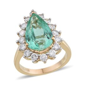 ILIANA 18K Y Gold AAA Boyaca Colombian Emerald (Pear 6.15 Ct), Diamond (SI/G-H) Ring 7.500 Ct.