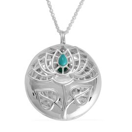 RACHEL GALLEY Arizona Sleeping Beauty Turquoise (Pear) Lotus Pendant With Chain (Size 30) in Sterling Silver, Silver wt 29.78 Gms.