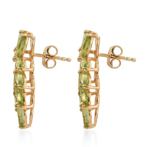 Designer Inspired-Hebei Peridot (Mrq) Earrings (with Push Back) in 14K Gold Overlay Sterling Silver 5.250 Ct.