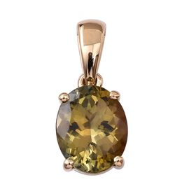 ILIANA 18K Y Gold Natural Yellow Tanzanite (Ovl) Solitaire Pendant 3.000 Ct.
