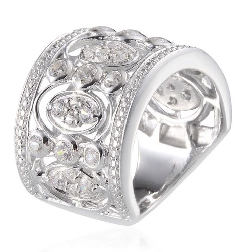 J Francis - Platinum Overlay Sterling Silver (Rnd) Ring Made With SWAROVSKI ZIRCONIA