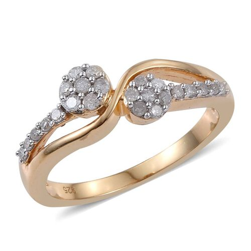 Diamond Twin Flower 0.33 Carat Promise Silver Ring in 14K Gold Overlay.
