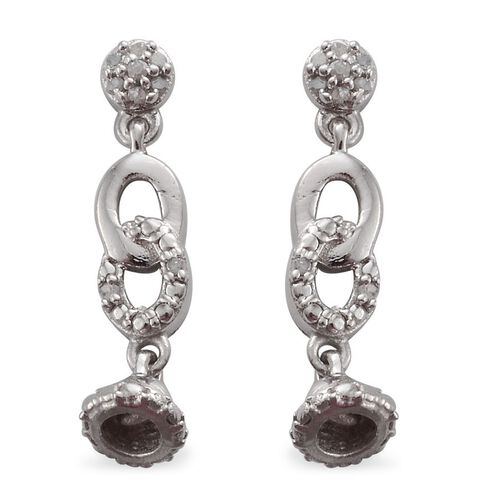 Diamond (Rnd) Bell Drop Earrings in Platinum Overlay Sterling Silver 0.100 Ct.