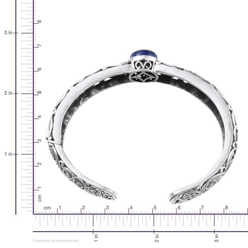 Lapis Lazuli (Ovl) Cuff Bangle (Size 7.5) in Sterling Silver 9.000 Ct.