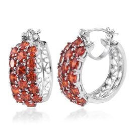 AAA Simulated Fire Opal Hoop Earrings (with Clasp) in Platinum Bond