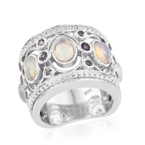 AA Ethiopian Welo Opal (Ovl), Iolite Band Ring in Platinum Overlay Sterling Silver 1.750 Ct.