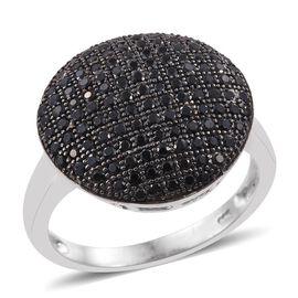 Boi Ploi Black Spinel (Rnd) Cluster Ring in Platinum Overlay Sterling Silver 1.750 Ct.