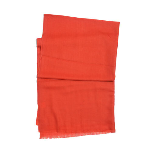 NEW FOR SEASON - 88% Merino Wool and 12% Silk Red Colour Scarf (Size 200x70 Cm)