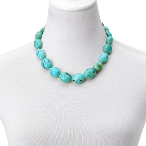 Limited Edition- Very Rare Natural Turquoise Necklace (Size 18 with 2 Inch Extender) in Rhodium Plated Sterling Silver 540.000 Ct.