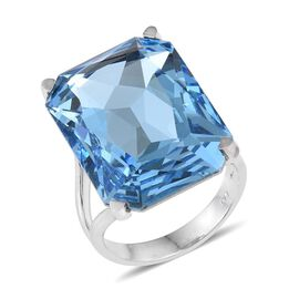 Crystal from Swarovski - Aquamarine Colour Crystal (Oct) Ring in ION Plated Platinum Bond