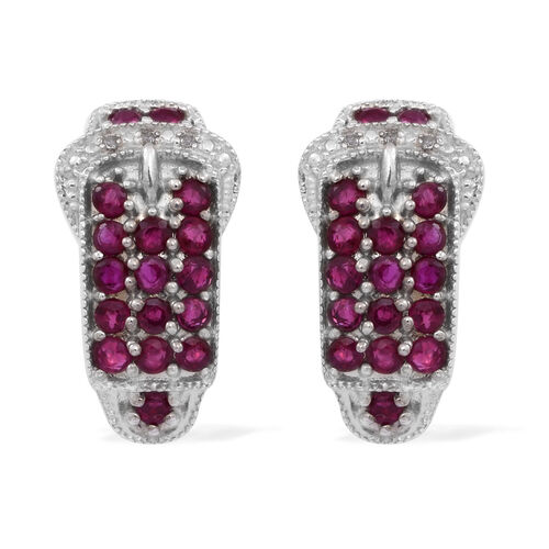 AAA Burmese Ruby (Rnd), White Topaz Buckle Earrings (with French Clip) in Rhodium Plated Sterling Silver 2.500 Ct.