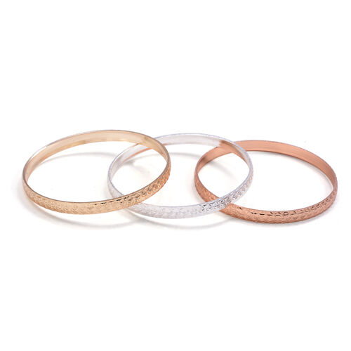 Close Out Deal Rose, Silver and Gold Plated 3 Brass Bangle (Size 7.5)