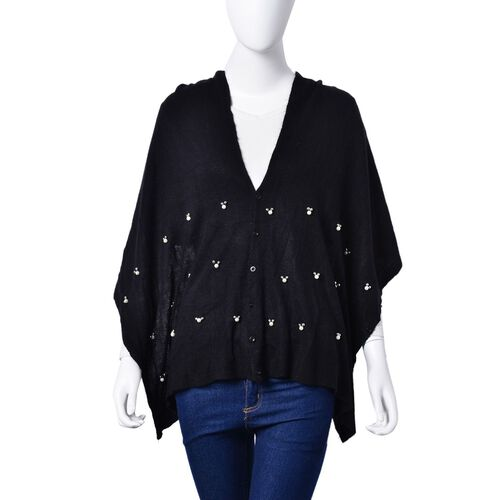 Pearl Detailed Embellished Black Colour Poncho (Size 180x45 Cm)