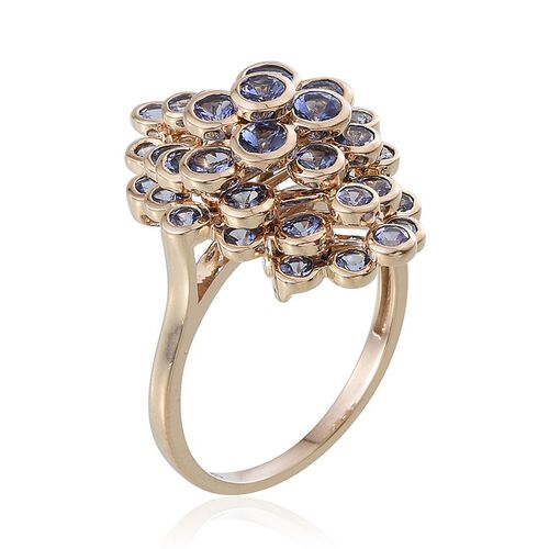 Raindrop Collection 9K Y Gold Tanzanite (Rnd) Ring 3.750 Ct.