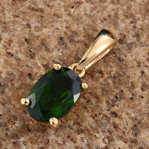 Russian Diopside (Ovl) Solitaire Pendant in 14K Gold Overlay Sterling Silver.