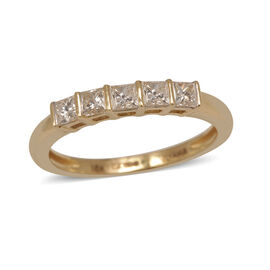 ILIANA 18K Y Gold IGI Certified Diamond (Sqr) (SI/ G-H) 5 Stone Ring 0.500 Ct.