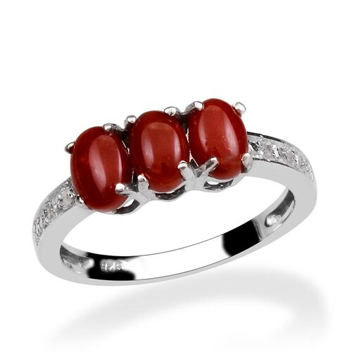 Natural Mediterranean Coral (Ovl), Diamond Ring in Platinum Overlay Sterling Silver 1.170 Ct.