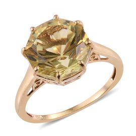 Natural Ouro Verde Quartz (Octillion Cut) Solitaire Ring in 14K Gold Overlay Sterling Silver 6.500 Ct.