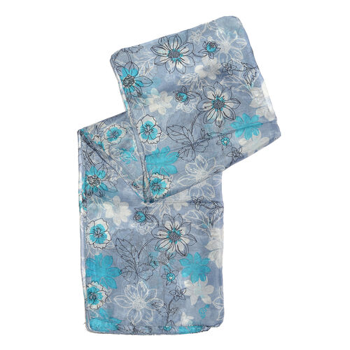 100% Mulberry Silk Blue and White Colour Floral Pattern Grey Colour Scarf (Size 180X50Cm)