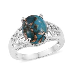 Mojave Blue Turquoise (Ovl) Solitaire Ring in Platinum Overlay Sterling Silver 4.500 Ct.