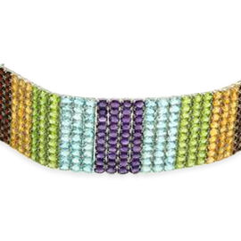 AAA Hebei Peridot (Ovl), Sky Blue Topaz, Citrine, Garnet and Amethyst Rainbow Bracelet in Rhodium Plated Sterling Silver (Size 7.5) 225.000 Ct.
