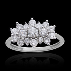 ILIANA 18K W Gold IGI Certified Diamond (Rnd) (SI/G-H) Boat Cluster Ring 1.000 Ct.