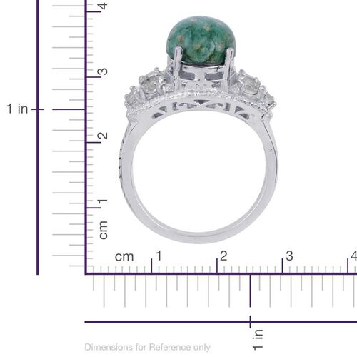 Russian Amazonite (Ovl 5.00 Ct), White Topaz Ring in Platinum Bond 6.150 Ct.
