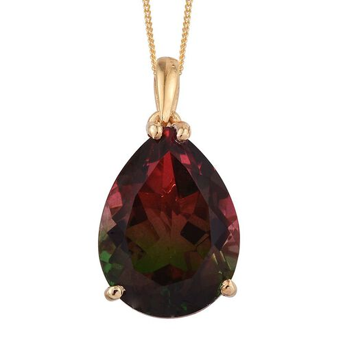 Bi-Color Tourmaline Quartz (Pear) Solitaire Pendant With Chain in 14K Gold Overlay Sterling Silver 9.500 Ct.