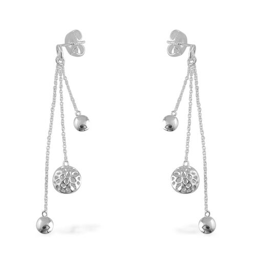 RACHEL GALLEY Sterling Silver Globe Drop Earrings (with Push Back), Silver wt 7.20 Gms.
