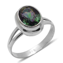 Royal Bali Collection Green Coated Quartz (Ovl) Solitaire Ring in Sterling Silver 2.520 Ct.