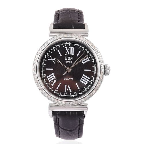 EON Swiss Movement White Diamond, 3ATM Water Resistant Watch in Black Leather Strap. Diamond Ct Wt 0.415cts.