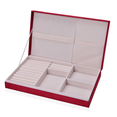Red Colour Velvet Multi Slots Jewelry Box with Pouch Pocket Inside (Size 32x19.5x6 Cm)