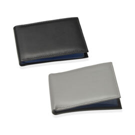 Set of 2 - Genuine Leather Black and Ash Colour RFID Bi-Fold Wallet and Card Holder with 24 Card Slots (Can hold Up to 96 Cards) (Size 14x10 Cm)