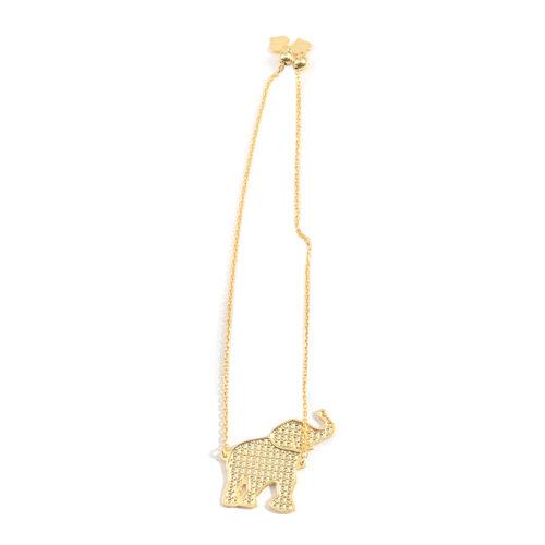 Designer Inspired 14K Gold Overlay Sterling Silver Adjustable Elephant Charm Adjustable Bracelet (Size 6 to 9), Silver wt 3.30 Gms.