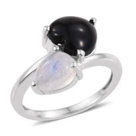 Black Onyx (Hrt 2.60 Ct), Rainbow Moonstone Crossover Ring in Platinum Overlay Sterling Silver 5.000 Ct.