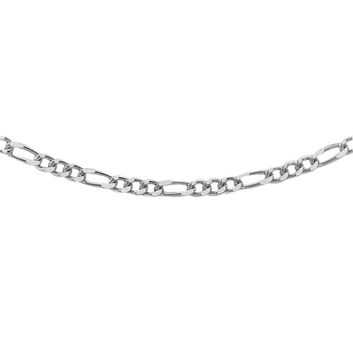 Vicenza Collection Silver Figaro Necklace with Rhodium Plating (Size 20), Silver wt 66.00 Gms.