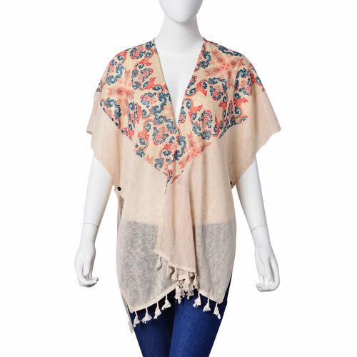 New Season-Multi Colour Damask Pattern Off White Colour Poncho with Tassels (Size 80X70 Cm)