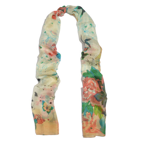 SILK MARK - Made in Kashmir 100% Silk Green and Multi Colour Floral and Butterfly Pattern Yellow Colour Scarf (Size 180x50 Cm)