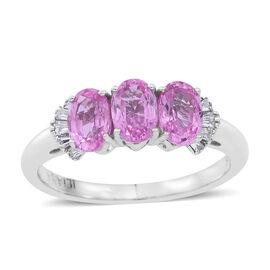 ILIANA 18K White Gold Pink Sapphire (Ovl 1.60 Ct), Diamond (SI G-H) Ring 1.750 Ct.